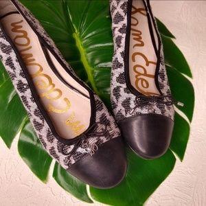 Sam Edelman Knit Animal Print Sequin Bow Flats